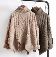 fashion womans turtle neck thick loose wool sweater Poncho kknitted sweater