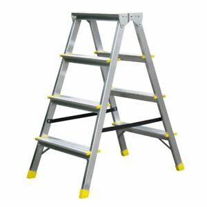 Doppelleiter Trittleiter Stehleiter 2 x 3 2 x 4 Stufen Aluminium Hohe Qualität