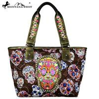 "Montana West Designer Sugar Skull Collection Wide Tote ""COFFEE"" COLOR MW720-8317"