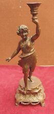 ancien magnifique grand régule femme au flambeau sur socle hauteur 50.5 cm
