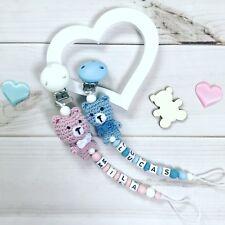 Schnullerkette Nuckelkette mit Namen Wunschname Silikon Beißkette rosa blau Bär
