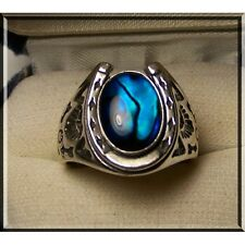 STAINLESS STEEL MENS RING -ROUND PAUA SHELL HORSE SHOE DESIGN