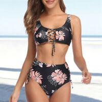 Zweiteilige Damen Floral hoch taillierte Crop Top Bikini Swimwears Badeanzug L/P