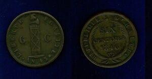 HAITI  REPUBLIC  AN. 43 (1846)  6 CENTIMES  COPPER COIN,  XF++,