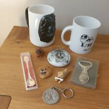 More details for a collection of chow chow dog items silver plated bottle openerbone china mugs++