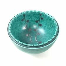 Gustavsberg Argenta Silver Overlay Green Glaze Bowl With Flower