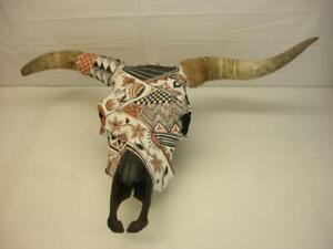 "33"" LARGE Hand Painted Steer Cow Bull Skull Ready to Hang Southwestern Decor Vtg"