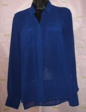 NEW $72 BERSHKA XS BUTTON BLOUSE COBALT BLUE SOFT TX SEE THROUGH TOP PRO CLEANED