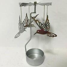NEW METAL HUMMING BIRD TEA LIGHT POWERED CAROUSEL SPINNING CANDLE HOLDER S23