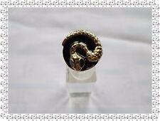 Magnifique Bague Fantaisie  Dorée Noire Motif Serpent  Nali Taille 57