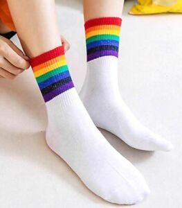 New Unisex Rainbow stripes White Socks Rainbow LGBT Gay Pride Girls Women