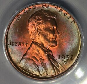 1952-D  .01  ANACS  MS 64 RB  Lincoln Head Cent, Lincoln One Cent
