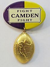 1930's CAMDEN HIGH SCHOOL NJ w/ attachment figural football pinback button +