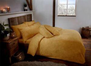 Ochre Yellow Teddy Fleece Fur Soft Cosy Duvet Quilt Cover Set Inc Pillowcases