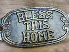 """NEW Bronze-Tone Cast Iron BLESS THIS HOME Plate Sign 3 1/2"""" x 8"""""""