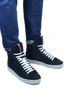 PRADA men's blue suede hi-top sneakers | Size EUR 40/US 8.5 (26.7 cm/10.5 in)