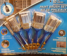 Paint Brush Set 10pc Heavy Duty Professional Home Wall Brushes Multi Purpose