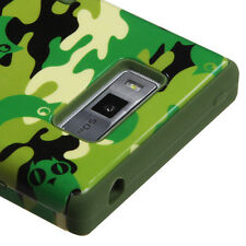 For LG Optimus Showtime L86c Rubber IMPACT TUFF HYBRID Case Cover Green Camo