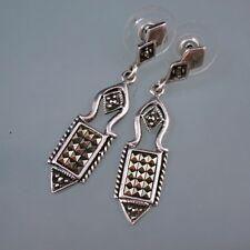 Sterling Silver 925 Marcasite Art Deco Design Drop Earrings