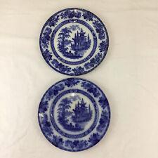 More details for 2x doulton burslem madras plate flow blue round 24cm 9.5 inch dinner