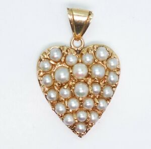 Fine Vintage 14K Yellow Gold Pave Pearl Heart Pendant