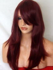 Red Wine Plum Wig Women Fashion Party Long Full Flick Fringe Ladies Wigs K16