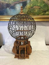 Large Vintage/Antique Victorian Wire & Wood Bird Cage Hot Air Balloon Shape Dome