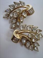 Trifari crown orecchini dorati vintage anni '50 con strass