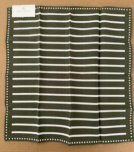 Brunello Cucinelli Pocket Square Sage Green White Dot Stripe 100% Cotton Italy