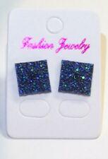 Small Blue Ab Sparkly Square Crystal Diamante Rhinestone Stud Earrings