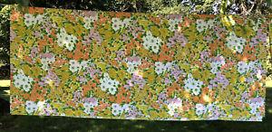 Vtg Tastemaker Mohawk Muslin Floral Queen Flat Sheet Flower Power 70's Color Mod