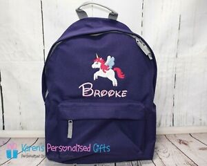 Personalised Kids Backpack, Purple Unicorn + Name Backpack (choice of colours)