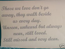 """ Loved one Lost"" vinyl wall art sticker decal indoor - choose colour"