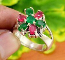 "Emerald Gemstone Turkish Victorian Jewelry Silver Ring Size US 9 1/2"" GJR852"