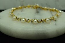 "7.25"" 10K YELLOW GOLD NATURAL WHITE PEARL & DIAMOND TENNIS BRACELET #X10-1917"