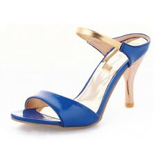 Prom Party Golden Strap Stiletto Heel Mid Heeled Elegant Summer Sandals Blue UK 0.5 ( Size CN 32)