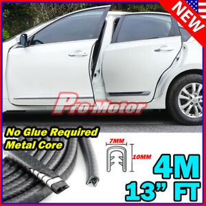 4M 13'FT Black Car Door Edge Rim Guard Molding Trim Protector Strip Metal Core