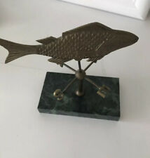 Brass Fish Weather Vane on Marble Base Penco. New Bedford Mass. Vintage Unique