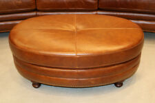 New Art Deco Oval Ottoman Real Top Grain Leather Coffee Table Restoration Style