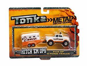 NEW TONKA TRUCK TOY METAL HITCH 'EM UPS PICK UP TRUCK & HORSE TRAILER 57457