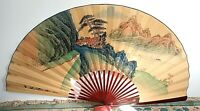 Vintage LARGE Asian Decorative Folding Fan Hand Painted Canvas Wood Chinese