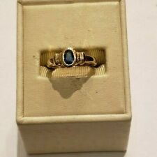 14 k yellow gold sapphire and diamonds ring, size 4