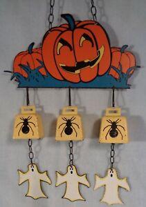 Vintage lithographed Metal HALLOWEEN BELLS spiders ghosts jack o lanterns