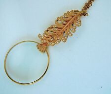 Joan Rivers Foldover Feather Lorgnette Magnifying Glass Necklace