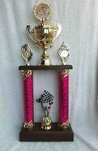Pokal Kart Motosport Säulenpokal Wanderpokal gold violett 53 cm 2020 Top NEUHEIT