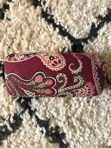 Vera Bradley Floral Red And Tan Large Sun glass Eye glass Hard Clam Case