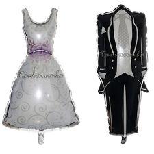 """BRIDE & GROOM GIANT 36"""" FOIL BALLOONS WEDDING DRESS & TUXEDO HEN STAG NIGHT"""