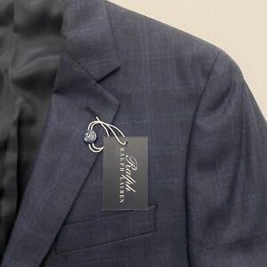 New Ralph Lauren Blue blue Plaid Silk / Wool Blend Blazer Jacket 40L