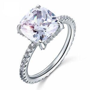 5 Carat Cushion Cut Created Diamond Solid 925 Sterling Silver Wedding ring