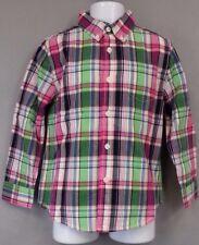 NWT NEW Gymboree Long Sleeve Shirt 3T Toddler Boy Green Blue Pink Plaid Button